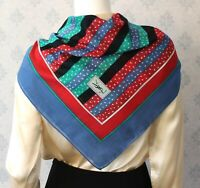 Vintage YSL Designer Striped Polka Dot Red, Green, Blue and White Cotton Scarf
