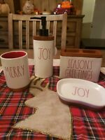 Rae Dunn Chrismas Bathroom  Set. Items NWT. Wooden, Ivory and Red. HTF. Set of 4