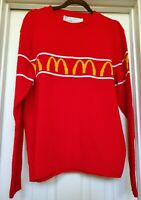 Vtg McDonald's Sweater Golden Arches Red Yellow  Employee Crew neck size L