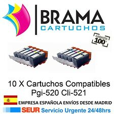 10 Comps Canon Pgi520 CLI521 IP3600 IP4600 MP560 MP620 MP990 Con Chip PGi520