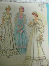 Vintage 70's Simplicity 7389 WEDDING DRESS BRIDAL GOWN Sewing Pattern Women