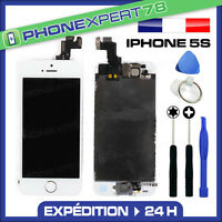 ECRAN LCD RETINA + VITRE TACTILE COMPLET SUR CHASSIS IPHONE 5S BLANC + OUTILS