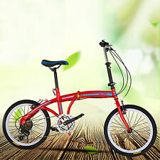 Red 20 inch Foldable Bike ,7 Speed V-brakes Commuter Bicycle ,Carbon Steel