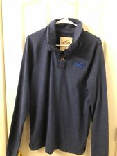 NWT HOLLISTER by Abercrombie Long Sleeve Shirt Mock Neck Henley Tee XL Blue