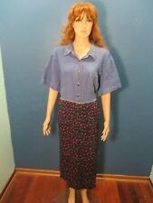 Plus Size 26W multi-color EMBROIDERED PAISLEY BLUE JEAN dress by BOBBIE BROOKS