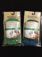 TOESOX Half Toe Grip Ankle Athletic Socks Lot of 2 (Green & Green/Blue) Size S
