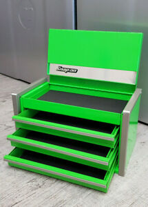 Snap-On New GREEN Miniature Mini Upper Top Tool Box Drawers Small Cabinet Chrome