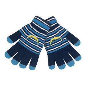 Los Angeles Chargers Gloves Acrylic Stripe Knit Sports Logo Winter Texting Tips