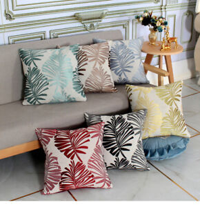 "LEAF Design Linen Cushion Covers 17"" X 17"" - Scatter Case Pillow Sofa Home Decor"