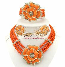 Orange Elegant 3 layers Beads with flower Necklace Earring bracelet Jewelry Set