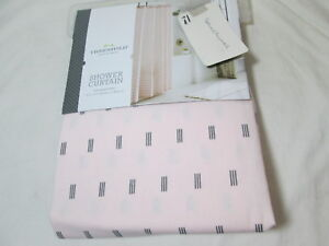 "New  Threshold Quality & Design  Shower Curtain 72""x72"" PINK/BLACK PRINT NIP"