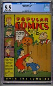 POPULAR COMICS #23 CGC 5.5 HTF PLATINUM AGE COMIC