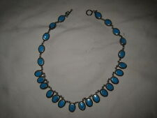 """17"""" Sterling Silver & Turquoise Necklace 925 Mexico 3.5 Oz."""