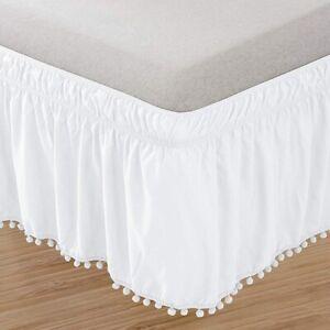 Easy Fit Pompom Fringe Bed Skirt Ruffle Elastic Wrap White Black Queen King Size