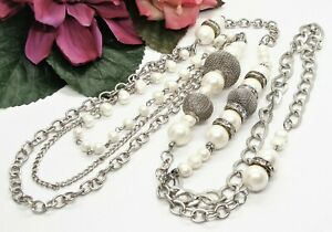 Stylish Long Silvertone Mesh Round Faux Pearl & Clear Rhinestone Beads Necklace!