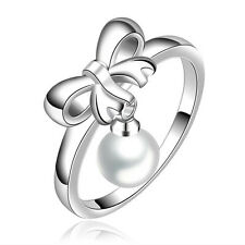 Silver Plated 925 Bow Ribbon Pearl Tassel Dangle Engagement Ring Size Q / 8 1324