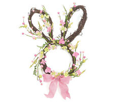 Spring Easter Bunny Head Ribbon Floral Rabbit Door Wreath Wall Hanging Decor