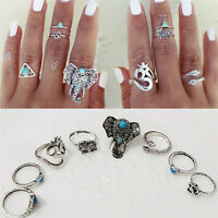 8PCS Vintage Boho Tribal Silver Stack Ring Gothic Elephant Snake Rings Set Gift