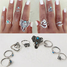 8PCS Boho Turquoise Hippie Stack Above Knuckle Ring Gothic Elephant Snake Rings
