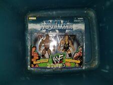 WWE Wrestlemania 2 stuff 3. The Rock/Owen Hart 2 pack Figures.