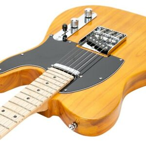 Glarry GTL Maple Fingerboard Electric Guitar Transparent Yellow with Gig Bag