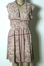 MANGO Kleid Gr. S alt-rosa kurz Ärmellos Sommer Kleid mit Paisley Muster