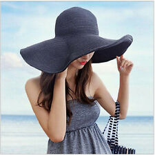 Women Fashion Wide Large Brim Folding Summer Sun Hat Straw Beach Cap Black