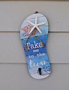 "30cm Beach Thong Key Holder Wall Hanger"" Take me to the ocean"""
