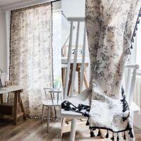 Black Print Tassel Boho Curtains For Living Room Bedroom Window Treatment Drapes