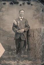 ORIG VICTORIAN Tintype / Ferrotype Photo c1860's MAN WEARING CEREMONIAL SASH
