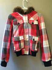 ROXY size small red white black plaid hooded jacket sweatshirt woman's lined GUC