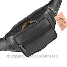Nuevo De Calidad Para Hombre señoras de cuero Negro Cintura bumbag viajes por oakridge Fanny Pack