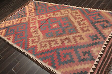 "5'5"" x 11' Vintage Hand Woven Southwestern Kilim Oriental Area Rug Runner Rust"