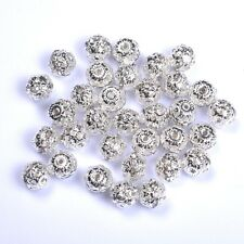 20Pcs Czech Crystal SILVER PLATED Round Ball Spacer Beads 6MM 8MM 10MM 12MM