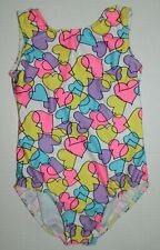 Nwot Little Stars girls Multi Color Heart Print Gymnastics Dance Leotard* Mc