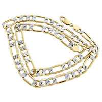 10K Yellow Gold 9.50mm Diamond Cut Hollow Figaro Chain Link Necklace 20-30 Inch