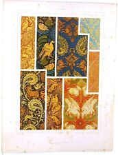 Stampa antica TESSUTI ARABI policromi arabian style 1920 Old antique print