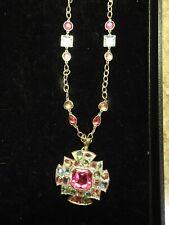 "Vintage SCAASI Brooch / Pendant Pink Aqua Goldtone 20-22"" Chain"