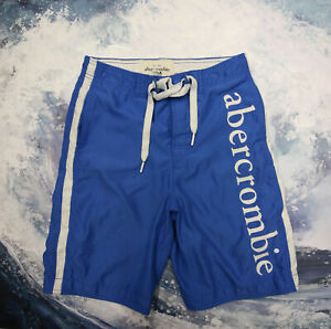 Abercrombie & Fitch Patch Spell out Blue White Board Shorts Trunks Mesh Boys L