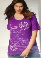 Damen Shirt  T-Shirt  Gr. XXL   52 - 54  lila  mit Druck  Stretch