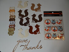 FALL DIMENSIONAL STICKERS SCRAPBOOK CARDS TURKEY FOX OWL BONUS DIE CUTS