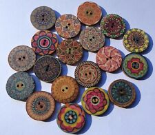 12 Gorgeous Mixed Multicoloured BOHO 20mm Decorative Plywood Wooden Buttons