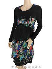 Robe MY DESIGN T 42 XL 4 Noir Fleurs Doublé Manches Printemps NEUF Dress Kleid
