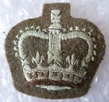 Patch- Vintage British Army Officers Insignia Crown Patch QC / Cloth Badge, Used