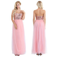 Women's Strapless Shiny Sequins Bridesmaid Dress Wedding Evening Party Ball Gown