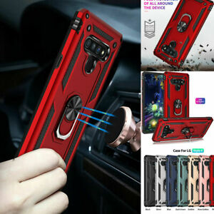 3 in 1 Shockproof Ring Holder Armour Stand Phone Case With Tempered Films For LG