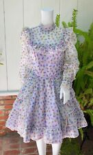 Vintage 60s Sweet Lavender Floral Ruffled Babydoll Kawaii Lolita Party Dress S