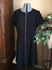 NWT Ann Taylor Zip Front Fit Flare Dress Black Short Sleeve Career Size 14 NEW