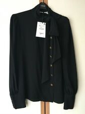 ZARA SILK BLEND BLOUSE WITH BOW SIZE XS 8