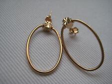 9ct Oro Amarillo Talla Diamante Pendientes Aro Ovalados